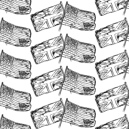 Sketch UK and USA flags vintage seamless pattern Vector