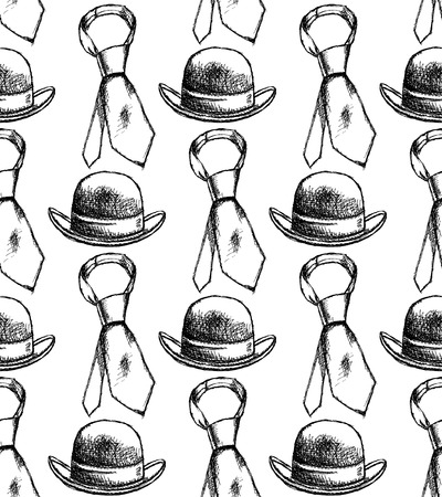 Sketch tie and hat vintage seamless pattern Stock Vector - 28797771
