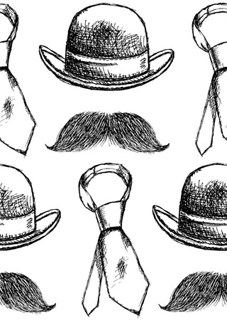 Sketch hat, tie and mustache vintage seamless pattern