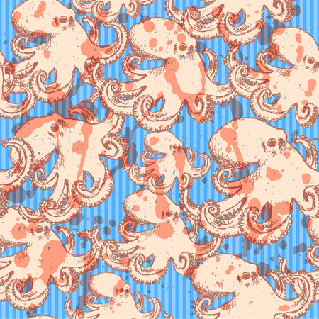 Sketch octopus, vector vintage seamless pattern eps 10 Vector
