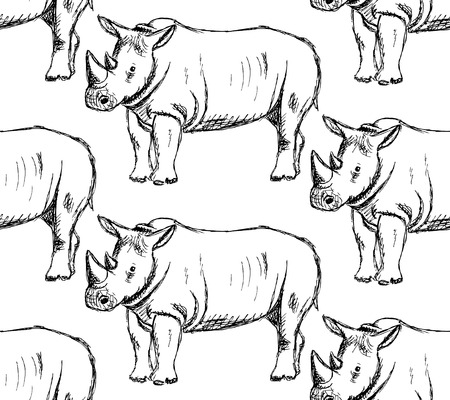 Sketch wild rhino, vector vintage seamless pattern Vector