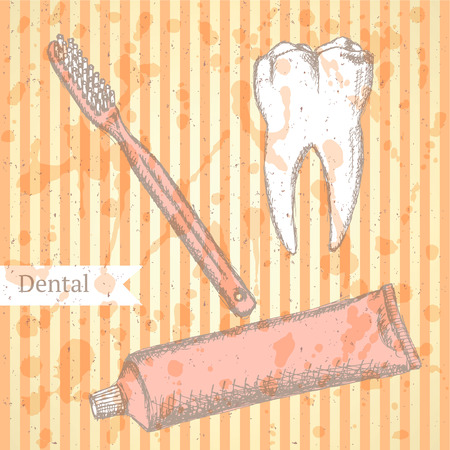 Sketch tooth paste, tooth brush and teeth, vintage background Vector