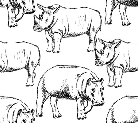 Sketch hippo and rhino, vintage seamless pattern   Vector