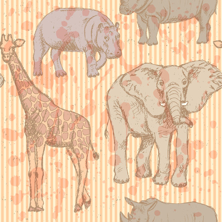 Sketch elephant, rhino, giraffe and hippo, vintage seamless pattern  Vector