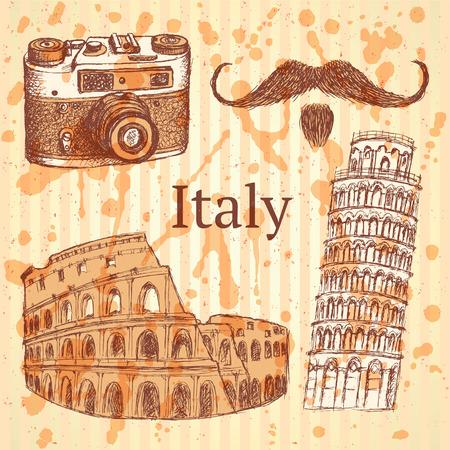 Sketch Italy set, vintage background