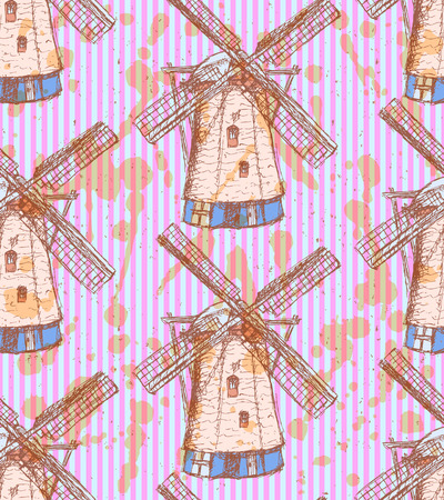 Sketch Holand windmill, vintage seamless pattern Vector