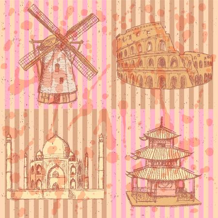 dutch tiles: Sketch historic buildings, vintage background  Illustration