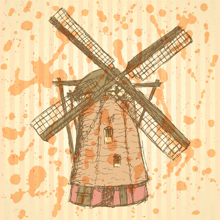 Sketch Holand windmill, vintage background Vector