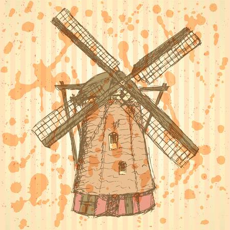 dutch tiles: Sketch Holand windmill, vintage background
