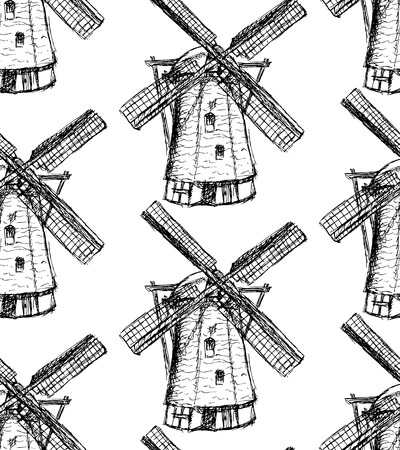 Sketch Holand windmill, vintage seamless pattern