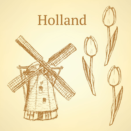 Sketch Holland windmill and tulip, vintage background Vector