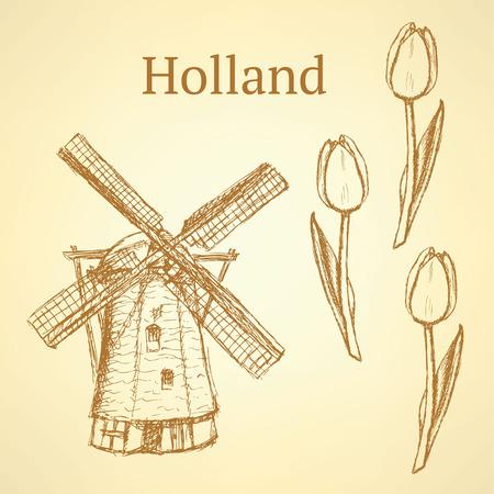 dutch tiles: Sketch Holland windmill and tulip, vintage background Illustration