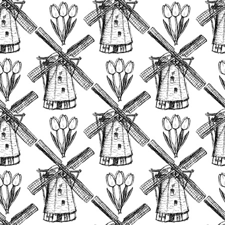 Sketch tulip and windmill vintage seamless pattern Vector