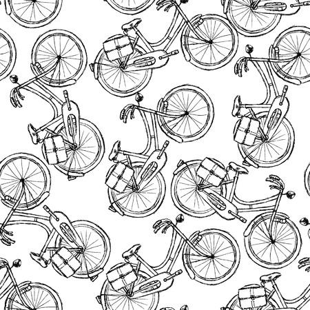 velocipede: Sketch bicycle vintage seamless pattern   Illustration