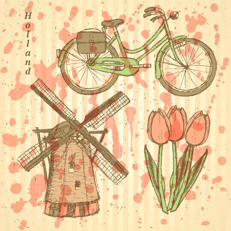 dutch tiles: Sketch Holland windmill, bicycle and tulip, vector vintage background