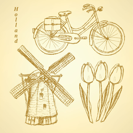 Sketch Holland windmill, bicycle and tulip Vector