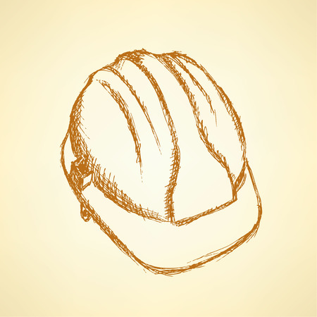 Sketch helmet, vector vintage background Vector