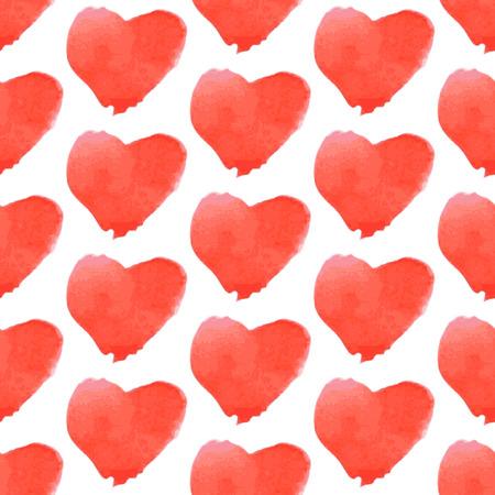 aquarell: Aquarell heart, vector vintage seamless pattern