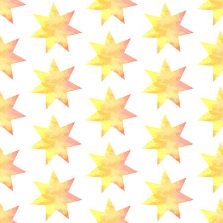 Aquarel star, vector vintage seamless pattern