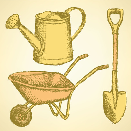 planter: Sketch watering can, shovel and barrow on vintage background