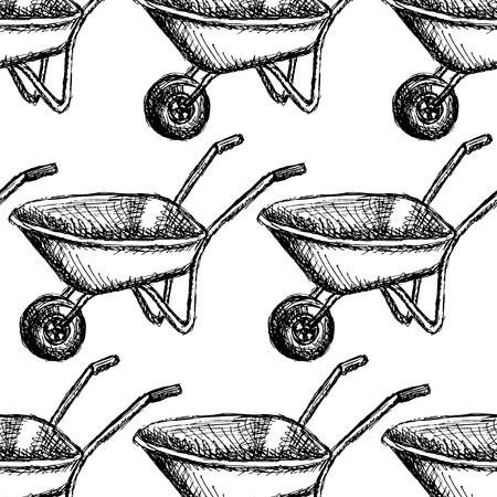 planter: Sketch barrow, vector vintage seamless pattern eps 10 Illustration