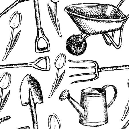 planter: Garden fork, barrow, watering can and shovel, vintage seamless pattern   Illustration