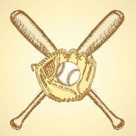 Sketch baseball ball, glove and bat, background   Vector