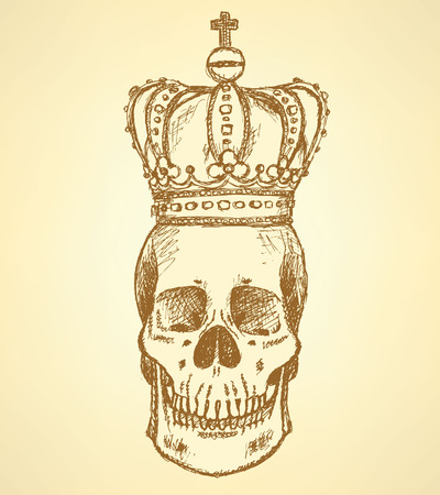 skull and crown: Sketch skull in crown,