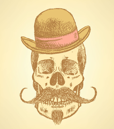 unexpected: Sketch scull with mustache and in hat, background