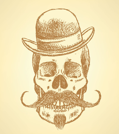 Sketch scull with mustache and in hat, background