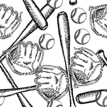 Sketch baseball ball, bat ang glove, vintage seamless pattern Illustration