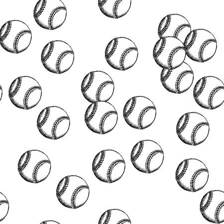 Sketch baseball ball, vector vintage seamless pattern     Vector