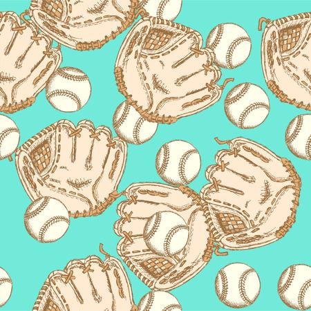 guante de beisbol: Sketch guante ang bal béisbol, patrón de la vendimia sin