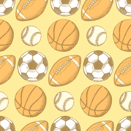 Sketch soccer, american football, baseball and basketball ball    Vector