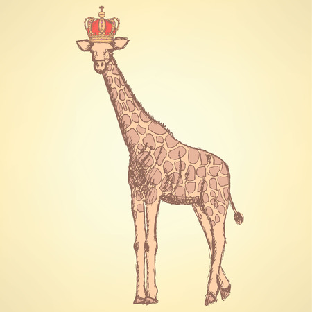 Sketch giraffe in crown, hipster background Vector
