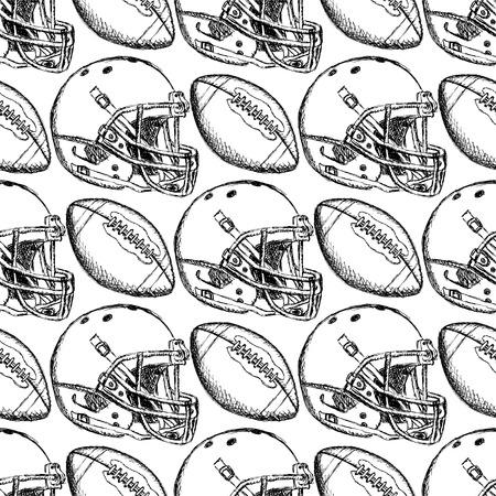 Sketch helmet and american football ball, seamless pattern