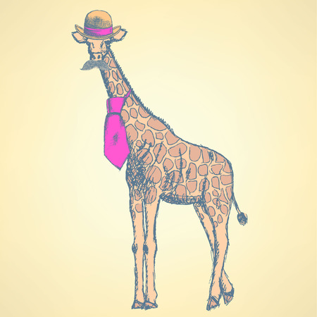 unexpected: Sketch giraffe hipster in hat and tie, with mustache