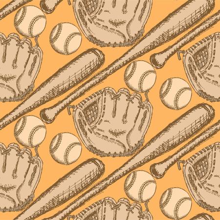 Pelota de béisbol Sketch, bate y guante, la vendimia sin patrón Foto de archivo - 30510379