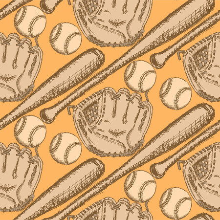 Sketch baseball ball, bat and glove, vintage seamless pattern   Vector