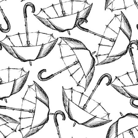 umbrella rain: Vintage umbrella in sketch style, seamless pattern  Illustration