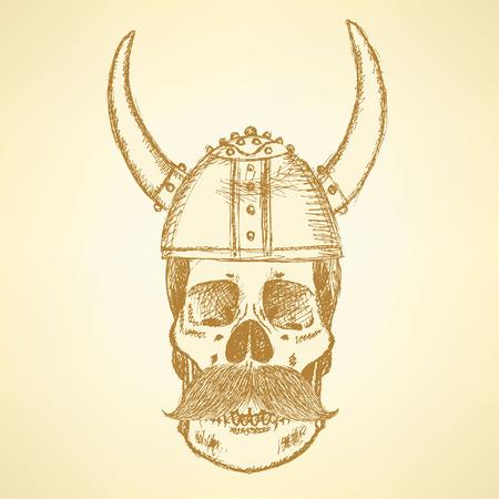 Sketch skull in viking helmet and with mustache  Vector