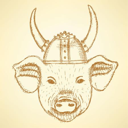 Sketch cute pig in the viking helmet  Vector