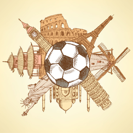 Famous architecture buildings around the football ball  Vector