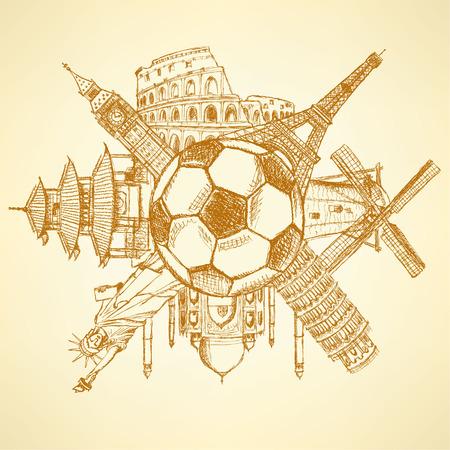 mimari ve binalar: Futbol topu etrafında Ünlü mimari yapılar Çizim