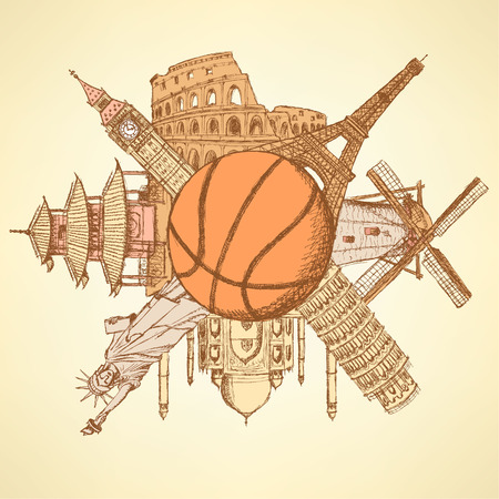 Famous architecture buildings around the basketball ball Vector