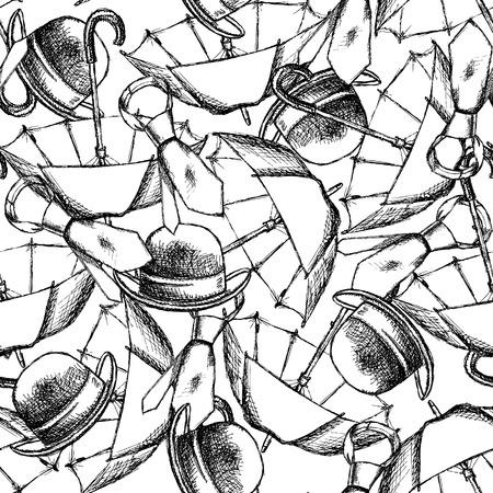 Sketch umbrella, hat and tie in vintage style Vector