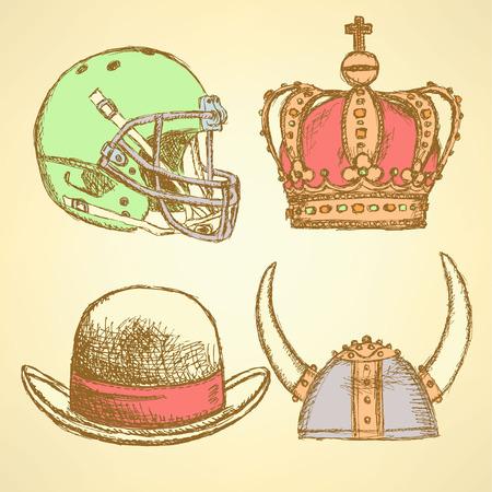 unexpected: Sketch viking helmet, crown, football helmet and hat, unusual set