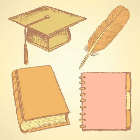 Sketch graduation cap, feather, notebook and book, background Vector