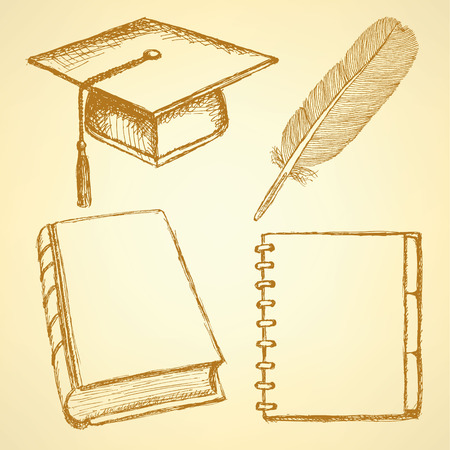 graduation background: Sketch graduation cap, feather, notebook and book, background
