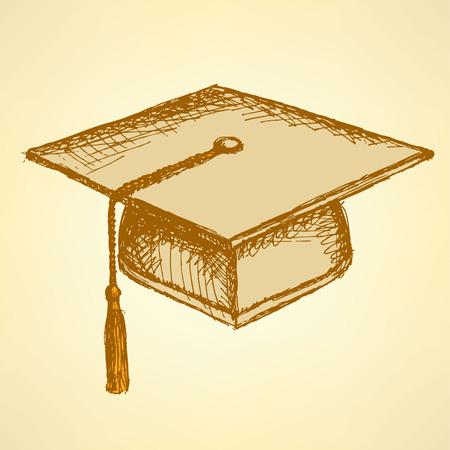 Sketch graduation cap, background in vintage style Illustration